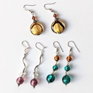 Jewelry - 3 Pairs Of Glass Bead & Silver Earrings